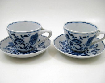 Vintage Blue Danube Cups & Saucers - Set of 2, Blue Onion Pattern, Replacement Tea Cups, Banner Stamp