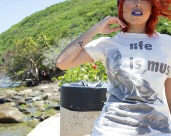 Women T-Shirt - vintage white Einstein Life is Music Tee