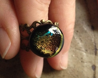 50% off - Golden dichroic filigree band adjustable ring, bohemian rings