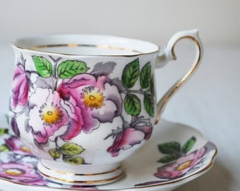Royal Albert Dog Rose Teacup and Saucer, June Flower of the Month