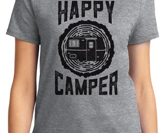 Happy Camper Camping Outdoors Unisex & Women's T-shirt Short Sleeve 100% Cotton S-2XL Great Gift (T-CA-11)