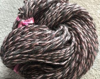 Hand Spun Art Yarn - Shetland Wool - Pink - Gray - 3 Ounces - 120 yards - 2 ply
