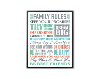 Family Rules Print, Family printable art, birthday gift print, family rule sign, printable art print, Instant download, Digital family rules