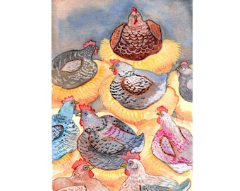 "Chicken Coop Art Print - Chicken Art - Chicken Home Decor - 8 1/2""x11"" Art Print"