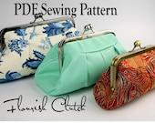 Flourish Clutch by Toriska, PDF sewing pattern, rectangle frame purse pattern, downloadable digital file, digital clutch pattern, DIY purse
