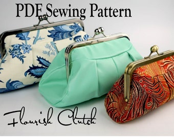 Flourish Clutch by Toriska, PDF sewing pattern, rectangle frame purse pattern, downloadable digital file, digital clutch pattern, DIY purse