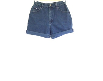 High Waisted Jean Shorts. Size 28 Waist. Vintage Lee 90s Dark Wash Denim Shorts. Made in the USA
