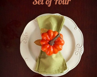 ON SALE 20% OFF Thanksgiving Napkin Rings Pumpkin Napkin Rings Fall Napkin Holders Rustic Table Decor Floral Fall Centerpiece Set of Four