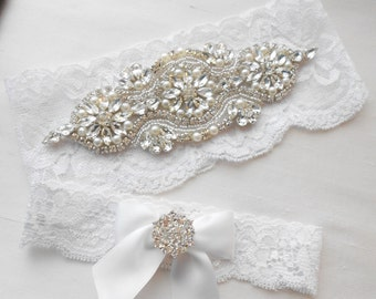 Wedding Garter Set Ivory or White Stretch Lace Bridal Garter Set Crystals and Rhinestones and Lovely Pearls.