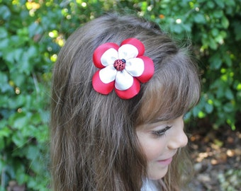 Ladybug Hair Clip Flower - Red White Sparkly Ladybug Bow