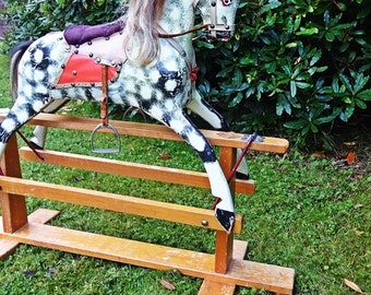Large Vintage Rocking Horse, Original Handmade COLLINSONS of Liverpool For 3 - 11 years, FREE Uk Shipping, now only 480 uk pounds ONO