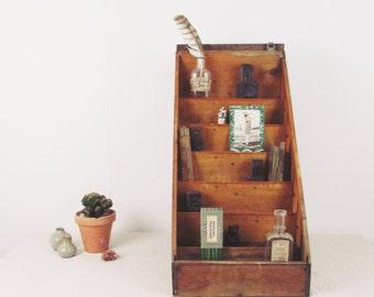 vintage desk organizer,wood crate,desk caddy,antique display case, letterpress card display,general store display,cubbies circa 1940