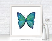 Teal BUTTERFLY Painting, Butterfly Print, Original Butterfly Watercolor, Butterfly Greeting Cards, Butterfly Art, 21 Blue Aega Butterfly