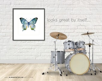 16x20, 68 Laglaizei Watercolor Butterfly, Series Print, Larger Print, Blue Butterfly Wall Art, Wall Decor, AK0378