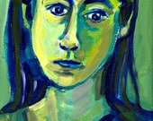 """Portrait of a Woman, Original Painting, Pensive Green Girl, Art, acrylic paint on watercolor paper, 12"""" x 9"""""""
