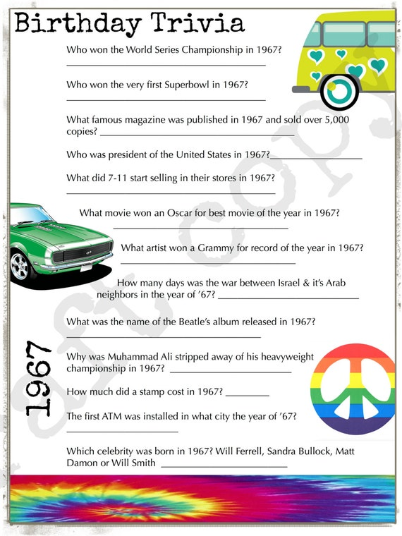 1967 Birthday Trivia Game Birthday Party Trivia Instant