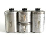 Aluminum Kitchen Canister Set Rounded Front, Complete Set of 4 Canisters, Metal Canister Sets, Flour Sugar Coffee Tea