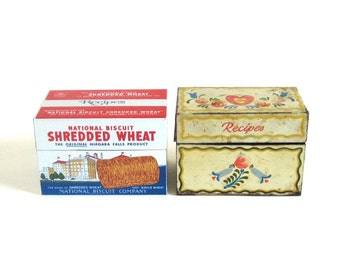 Tole Style Recipe Card Box Ohio Art Vintage Recipe Storage Tin 3 x 5 Old Food Photography Prop Nabisco Shredded Wheat Recipe Box