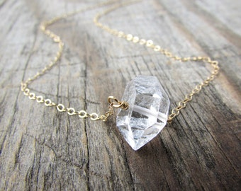 Herkimer Diamond Necklace, big, raw herkimer diamond, gold chain, choker