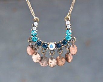 Boho Chandelier Necklace In blue and Copper