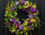 Large Floral Door Wreath - Flower Wreath - Purple Wreath - Handmade Wreath
