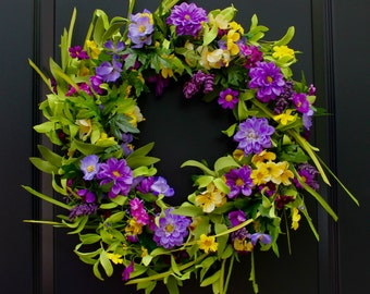 Large Floral Door Wreath - Flower Wreath - Purple Wreath - Handmade Wreath