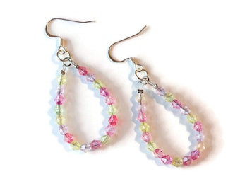 Two tone pink and yellow dangle earrings