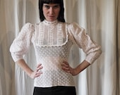 70s neo victorian white ruffled crocheted lace bib blouse 38