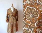 60s kaki orange paisley printed silk pleated shirt day dress L/XL