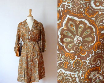 60s kaki orange paisley printed silk pleated shirt day dress L/XL