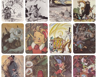Pinocchio / Burattino by Soviet Illustrators: Vladimirsky, Konashevich and others. Complete Set of 16 Postcards in original cover -- 1983