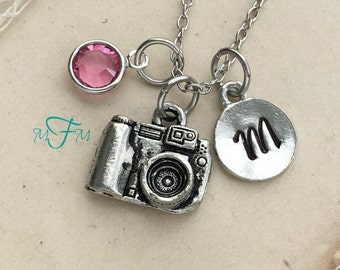 Camera Charm Necklace, Personalized Necklace, Silver Pewter Camera Charm, Custom Necklace, Swarovski Crystal birthstone, monogram