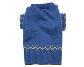 Designer Dog Sweater, Small Blue and Brown Wool Blend Christmas, Boy Dog Clothes, Pet Puppy Boutique 0337