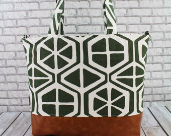 Extra Large Lulu Tote Overnight Diaper Bag- Aiden Green with Messenger Strap- READY to SHIp Dance Travel School Bag