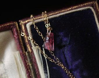 Tourmaline Necklace, Tassel Necklace, Carved Tourmaline Necklace, Pink Tourmaline Necklace, Ombre Necklace, Boho Jewelry, Small Necklace.