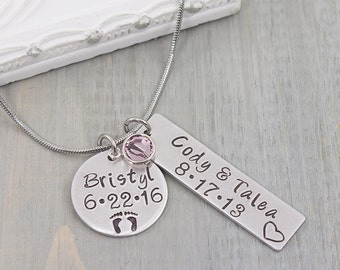 Hand Stamped Necklace - Mommy Necklace - Personalized Necklace - Personalized Jewelry