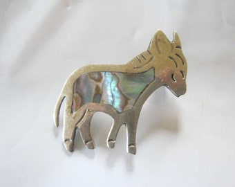 Vintage 1960s 1970s Mexican Donkey Brooch Alpaca and Abalone Animal Pin Silver Look Tiny Small