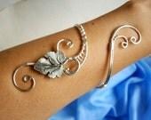 Cuff Bracelet, Arm cuff, Spiral Arm Band, Arm Bangle, Silver Leaf bracelet, Wire Wrapped  jewelry