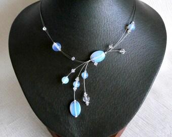 Bridesmaid Necklace, Moonstone Necklace, Weddings Necklace , Bridal necklace , Illusion Necklace , Stylish Fashion necklace