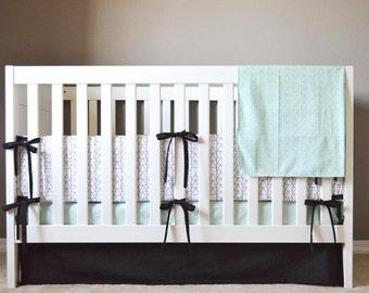 Crib Bedding Set - 5 Piece Set - Crib Bumper, Fitted Crib Sheet, Crib Skirt, Changing Pad Cover, Organic Blanket - Mint, Black, White