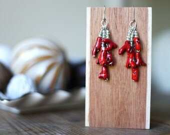 Red Coral Earrings / Red Statement Earrings / Coral Jewelry / Polymer Clay Red Coral Branch Earrings / Sterling Silver Earrings