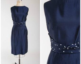 Vintage 1950s Dress • Stunning Constellation • Navy Blue 50s Sheath Day Dress with Polka Dot Sash Size Large