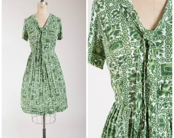 Vintage 1950s Dress • Lure of Green • Floral Print Nylon Jersey 50s Vintage Shirtwaist Dress Size Medium