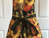 Sunflowers Fall Christmas Womens Reversible Apron Holiday Two in One Apron