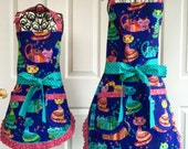 Mommy and Me / Mother Daughter Reversible Cat Aprons