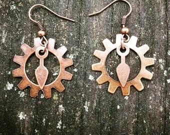 Steampunk Antiqued Copper Gears Earrings