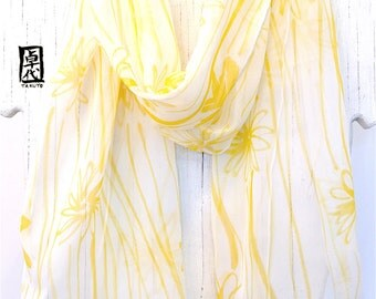 Silk Scarf Handpainted, Gift for her, Birthday Gift, Yellow Wildflowers Scarf, gift wrapped, White Silk Scarf, 11x60 inches.