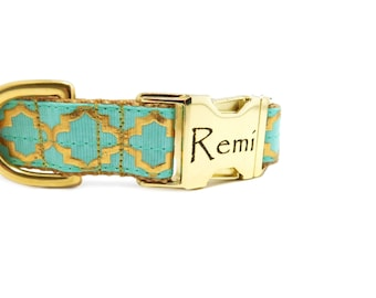 """Gold Print Dog Collar,1"""" wide Personalized Buckle Optional"""