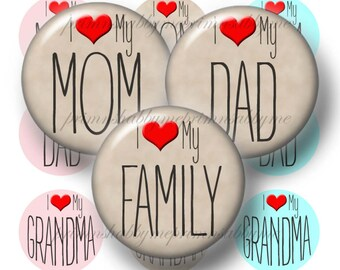 Digital Collage Sheet, Family, Bottle Cap Images, 1 Inch Circles, Instant Download, Love, Dad, Mom, Grandma, Grandpa, Words, Quotes, (No.1)