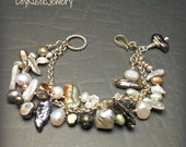 Multi Color Freshwater Pearl Bracelet Hand Knotted with Sterling Chain and Clasp